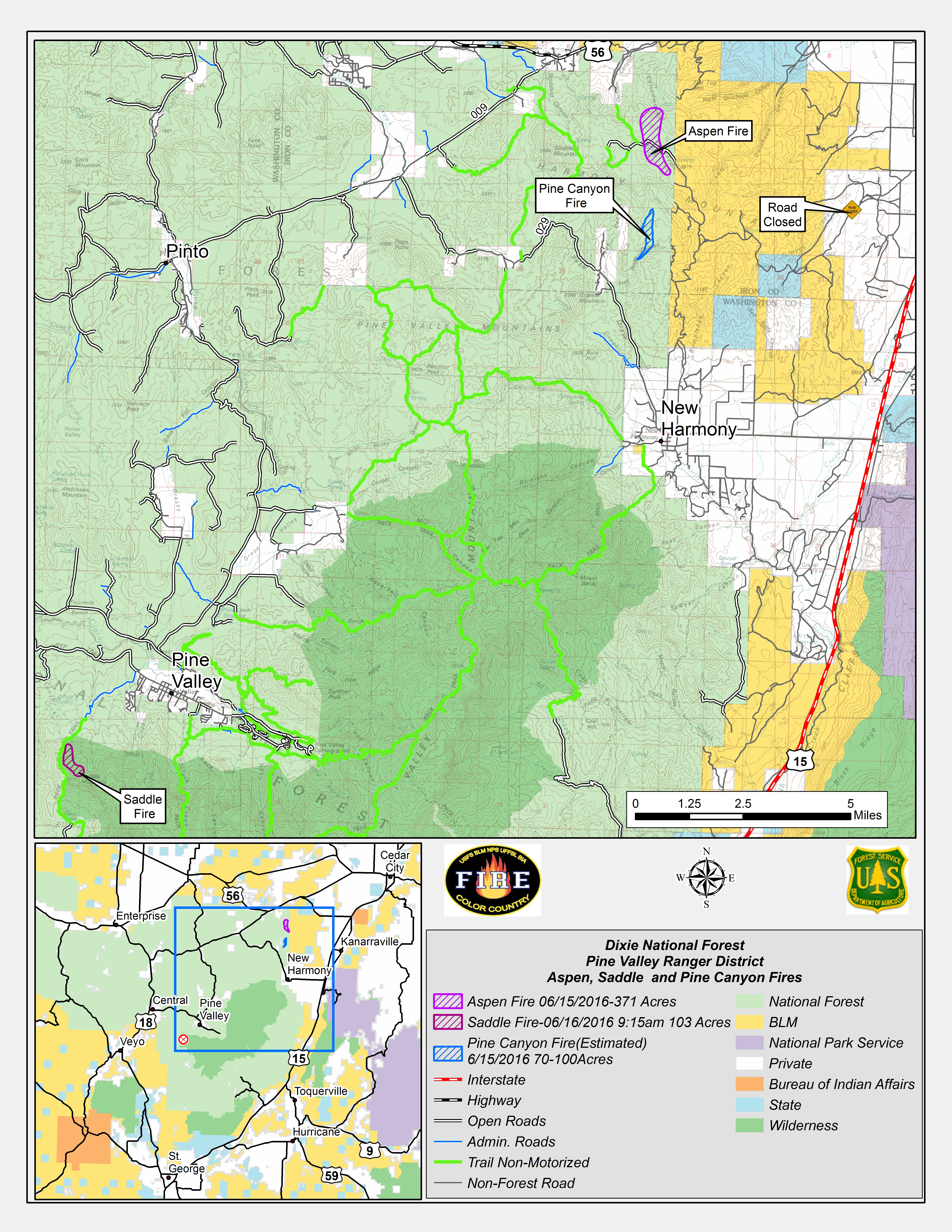 Map issued Thursday indicating three lightning-caused fires, the Aspen Fire, the Pine Canyon Fire and the Saddle Fire, all burning in Dixie National Forest, June 16, 2016 | Map courtesy of Dixie National Forest, St. George News | Click on map to enlarge