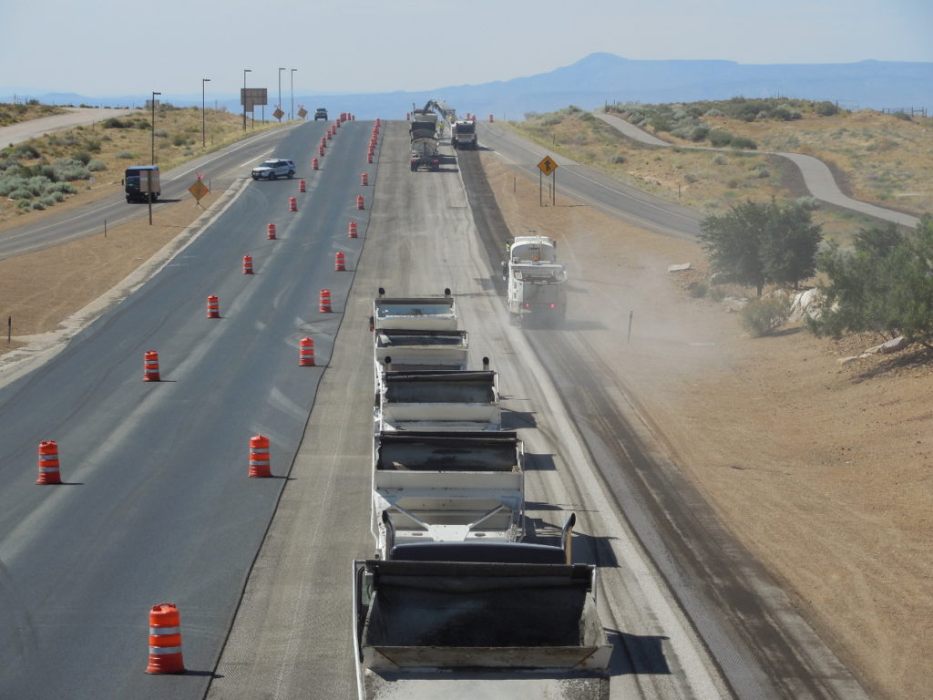Trucks line up as road work proceeds on SR-18 near The Ledges north of St. George, Utah, June 29, 2016 | Photo by Julie Applegate, St. George News