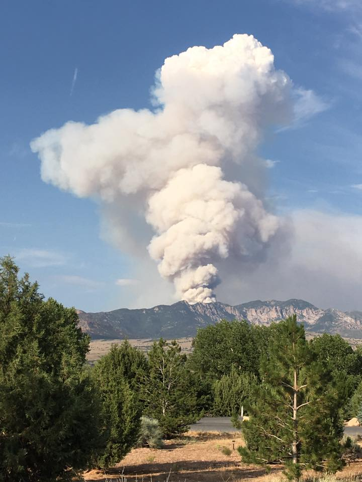 Lightning-caused fire burning on Saddle Mountain in the Pine Valley Wilderness of the Dixie National Forest, photo shot from Dammeron Valley, Washington County, Utah, June 21, 2016 | Photo courtesy of Lori Cuskelly, St. George News