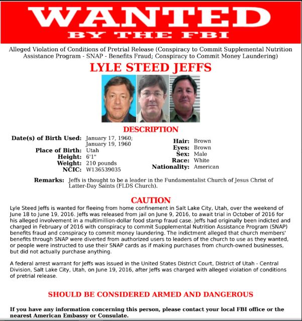Lyle Jeffs FBI Wanted Poster