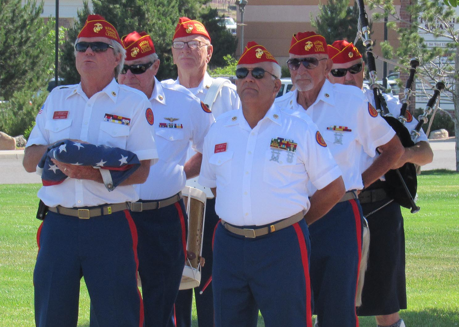 L-R: Larry Mineer, Dave Waters, Terry Hansen, Henry Franz, Gordon Farr,John Mayer; (D'Arcy Grisier not pictured). Color Detail from the Utah Dixie Detachment 1270 Marine Corps League awaits the signal to start for the nation's 100th Flag Day. Intermountain Healthcare's Cedar City Hospital, Cedar City, Utah, June 14, 2016 | Photo courtesy of William Fortune, Utah Dixie Detachment 1270, Marine Corps League St. George; St. George News / Cedar City News