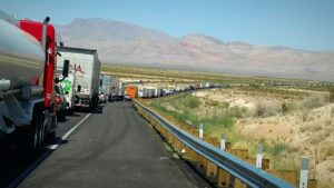 Construction work has caused an 11 mile traffic backup to develop along northbound Interstate 15, Mohave County, Arizona, June 1, 2016 | Photo courtesy of Arizona Department of Public Safety, St. George News