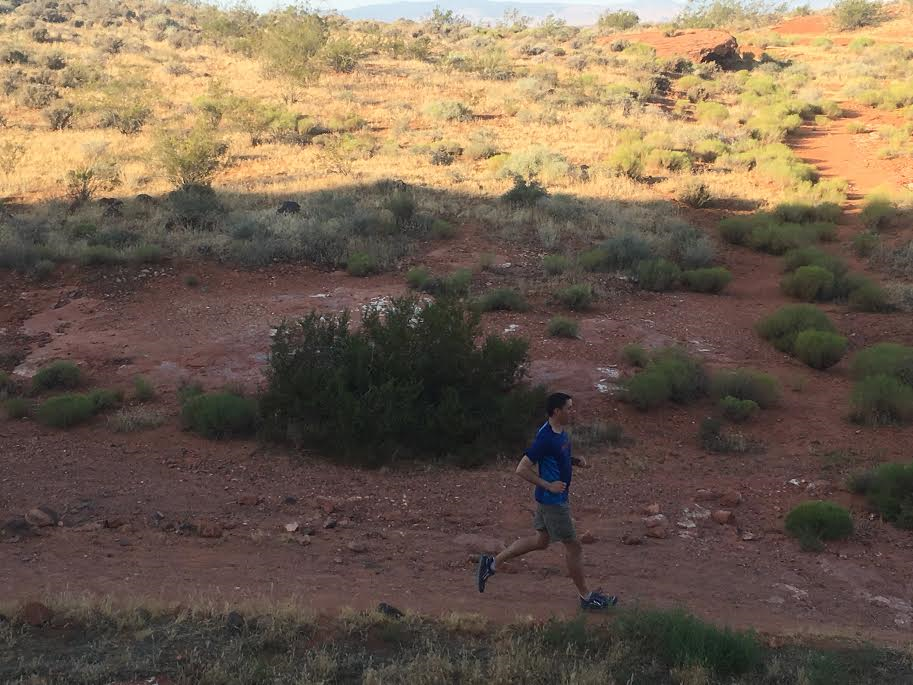 Cory Reese runs on a section of the Chuckwalla Trail in St. George, Utah, June 23, 2016 | Photo by Hollie Reina, St. George News