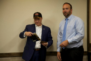 L-R, Justin Harding, Chief of Staff for Gov. Gary Herbert and Lance Syrett, General Manager of Ruby's Inn. Syrett accepted a proclamation from the governor's office on behalf of Ruby's Inn. Bryce Canyon City, Utah, May 31, 2016   Photo courtesy of Ruby's Inn, St. George News