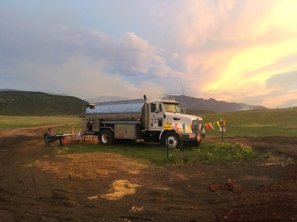 A temporary gas station set up at the Saddle Fire base camp at Grass Valley on the Dixie National Forest near Pine Valley, Washington County, Utah, June 27, 2016 | Photo by Kimberly Scott, St. George News