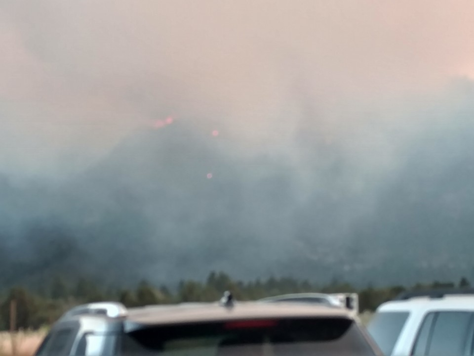 """""""The fire is backing down the ridge toward Pine Valley near the Forsyth trailhead,"""" officials said Thursday night, Washington County, Utah, June 23, 2016   Photo courtesy of Washcosafety, St. George News"""