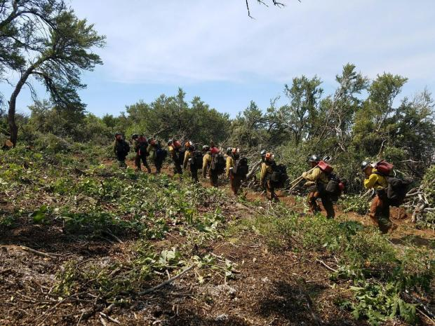 Hotshot crew hiking to continue prepping the fire line on the Saddle Fire, Washington County, Utah, June 28, 2016 | Photo courtesy of Alex Kluger, Unified Fire Authority, St. George News