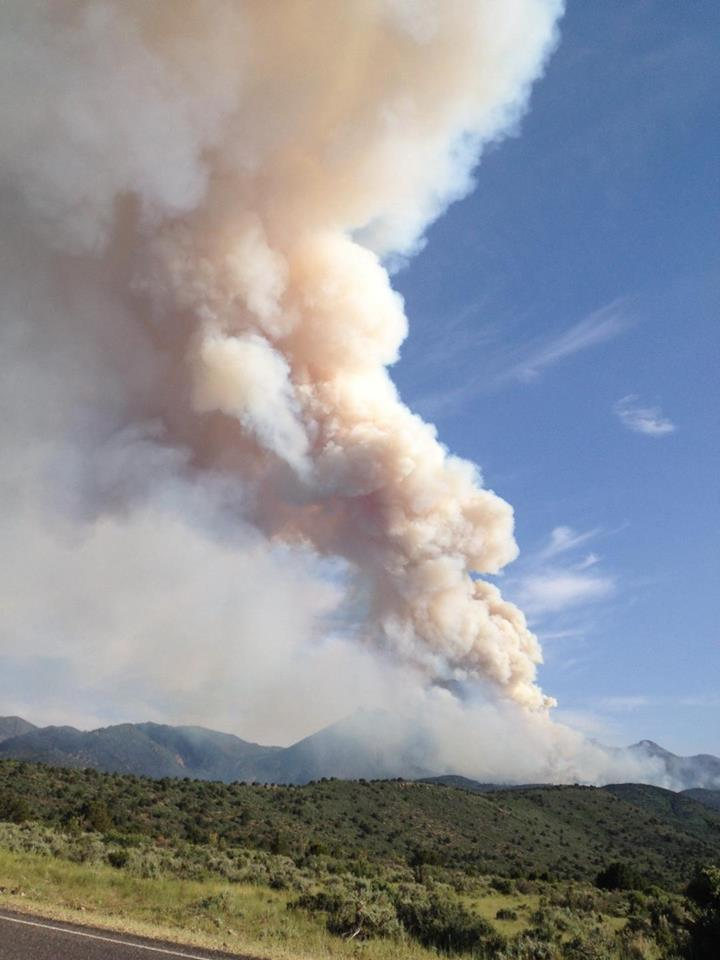 Lightning-caused fire burning on Saddle Mountain in the Pine Valley Wilderness of the Dixie National Forest, Washington County, Utah, June 21, 2016 | Photo by Scott Alvord courtesy of Washcosafety, St. George News