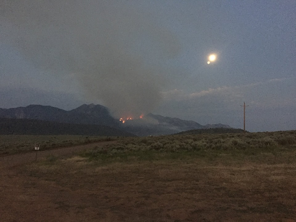 The Saddle Fire burning near Pine Valley was very active at 5:45 a.m. Tuesday, Dixie National Forest, Utah, June 21, 2016   Photo courtesy of Nick Glidden, St. George News