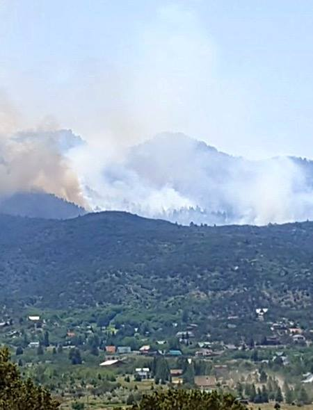 A lightning-caused fire burning on Saddle Mountain in the Pine Valley Wilderness of the Dixie National Forest resulted in a mandatory evacuation of Lloyd Canyon resdidents. Washington County, Utah, June 21, 2016 | Photo by Tyler Truman, St. George News