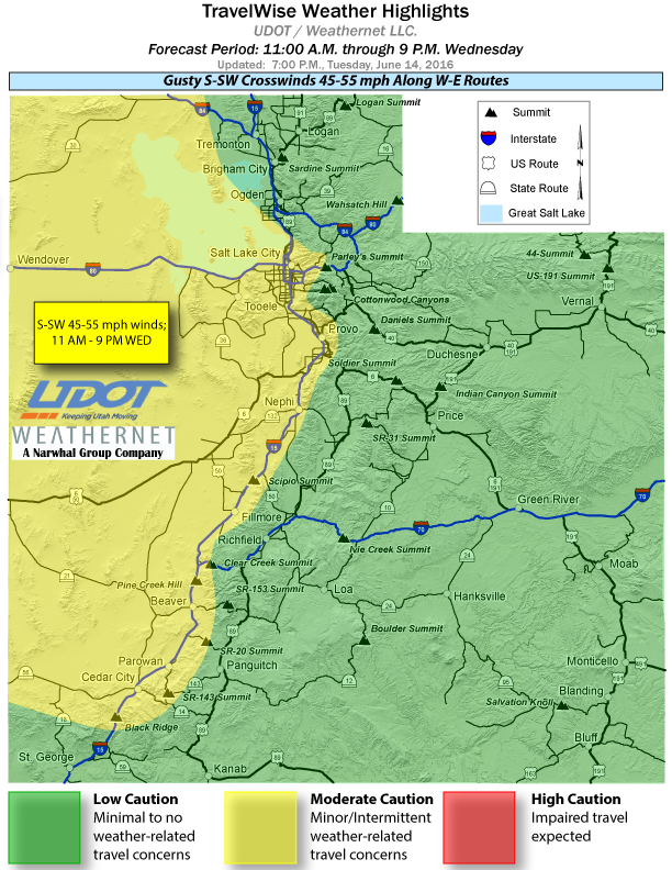 Travelwise weather highlights from Utah Department of Transportation effective Wednesday suggest moderate caution in the areas shown in yellow. Map last updated at 7 p.m. June 14, 2016 | Map courtesy of UDOT, St. George News