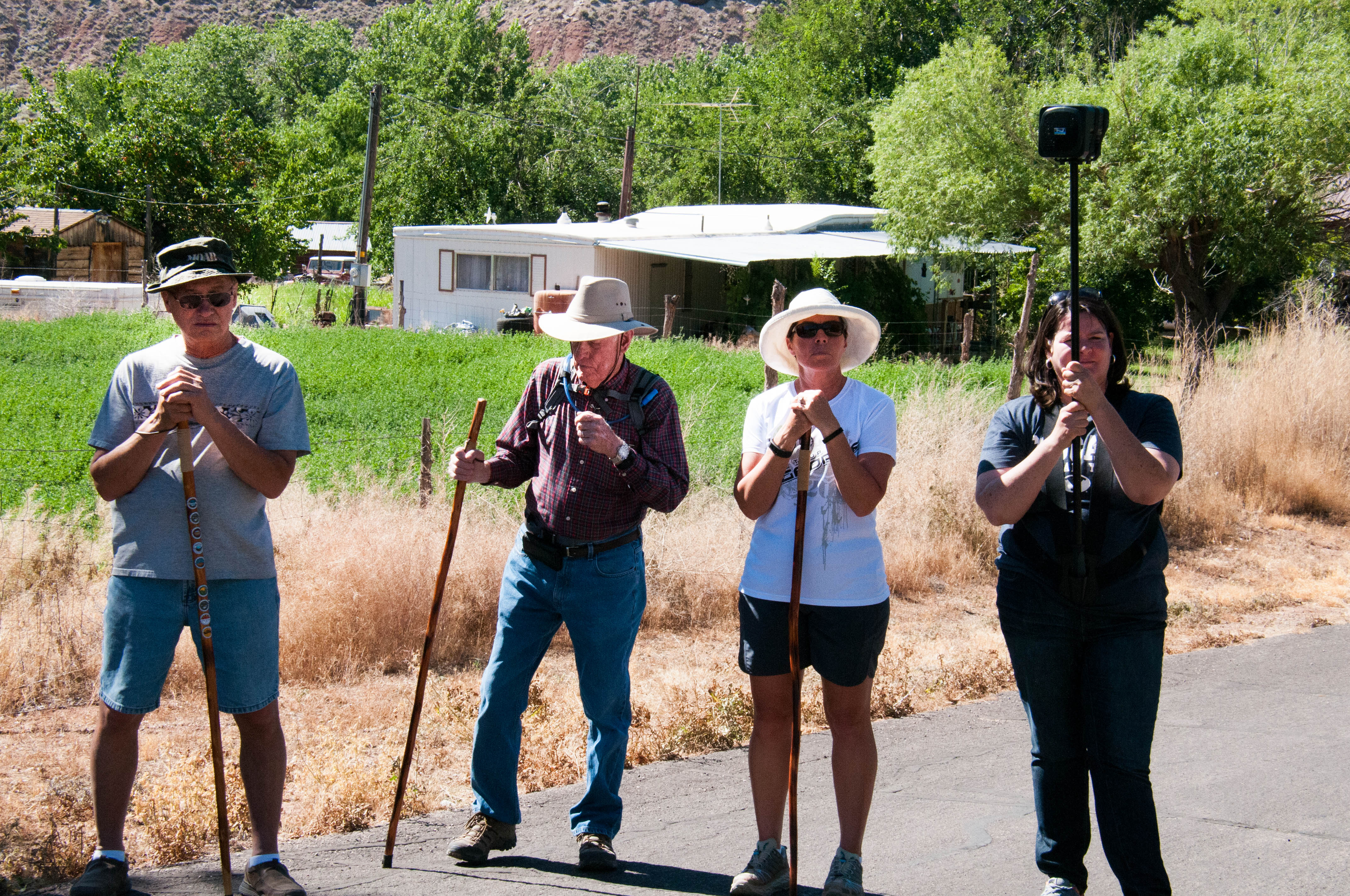 History buffs from left to right: Ken Hill, Ray and Dee Shankla, Heidi Lemke. Mayor's walkabout through Virgin Town, Utah, June 18, 2016, | Photo by Kathy Lillywhite, St. George News