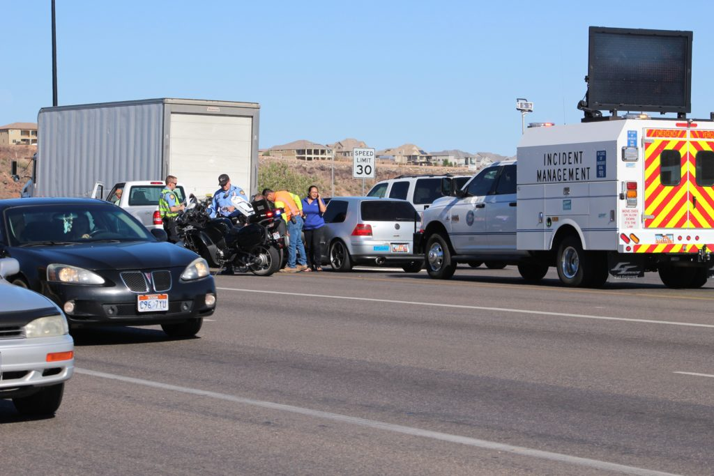 UDOT Incident Management Team assists at accident scene on E. St. George Boulevard, St. George, Utah, June 16, 2016 |Photo by Cody Blowers, St. George News