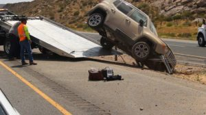 A wreck on southbound I-15 left a Jeep hung up on the center cable barrier. Leeds, Utah, June 22, 2016 | Photo by Mike Cole, St. George News