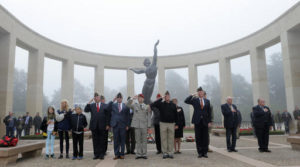 U.S. representatives of WWII veterans associations pay their respects as they listen to the U.S. national anthem prior to lay wreaths on the memorial in the Colleville American military cemetery in Western France, on the 72nd anniversary of the D-Day landing. D-Day marked the start of a Europe invasion, as many thousands of Allied troops began landing on the beaches of Normandy in northern France in 1944 at the start of a major offensive against the Nazi German forces, an offensive which cost the lives of many thousands. Colleville sur Mer, France, June 6, 2016 | Photo by Francois Mori (AP), St. George News