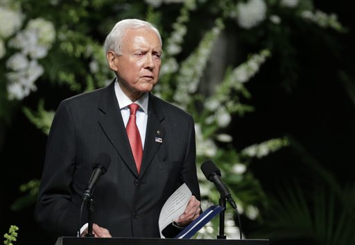 Sen. Orrin Hatch, R-Utah, speaks during Muhammad Ali's memorial service, Friday, in Louisville, Kentucky, June 10, 2016 | AP Photo/David Goldman; St. George News