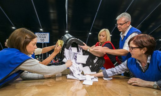 Countera begin to tally ballot papers at the Titanic Exhibition Centre in Belfast, Northern Ireland, as counting gets underway in the referendum on the UK membership of the European Union, late Thursday June 23, 2016. On Thursday Britain votes in a national referendum on whether to stay inside the EU.(Liam McBurney / PA via AP) UNITED KINGDOM OUT - NO SALES - NO ARCHIVES