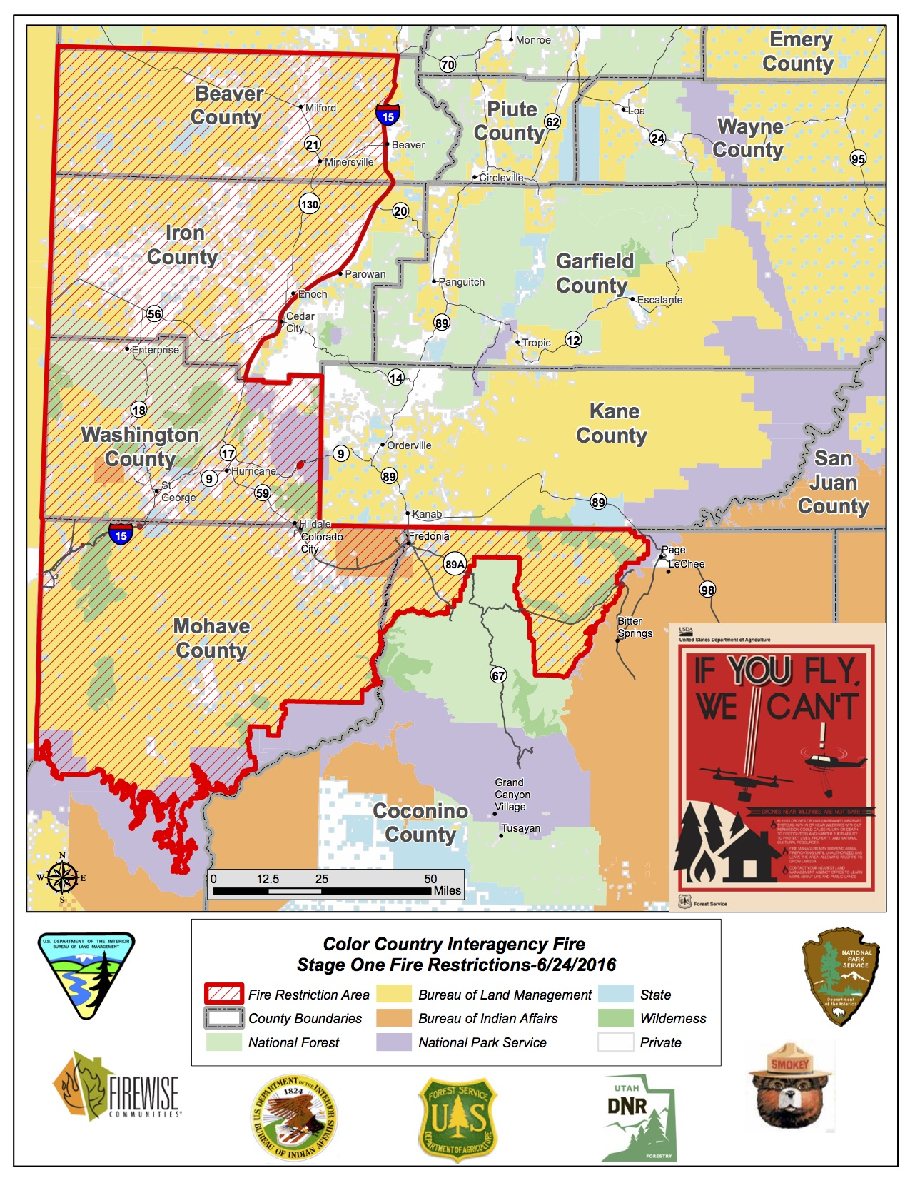 Map Of Arizona Utah.Fire Restrictions In Place For Utah Arizona St George News