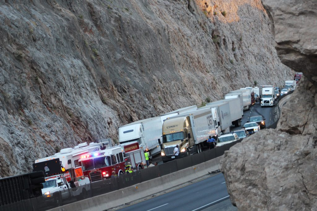 Traffic backed up for miles after semi -tractor trailer loses one trailer in a rollover on Interstate 15 northbound, Virgin River Gorge, Ariz. June 18, 2016 |Photo by Cody Blowers, St. George News