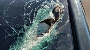 A driver traveling southbound on I-15 Thursday was almost killed when a clevis grab hook flew off a nearby semitrailer and went through his windshield, June 23, 2016, Cedar City, Utah   Photo courtesy Utah Highway Patrol, St. George News/Cedar City News
