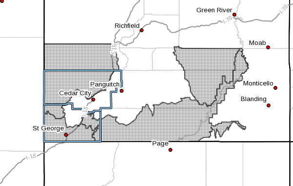 A fire weather watch has been issued for portions of Southern Utah | Image courtesy of National Weather Service, St. George News