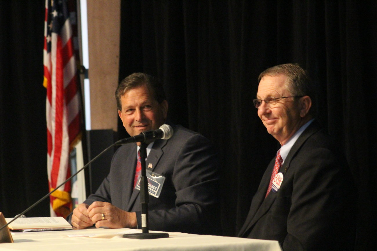 L-R: Washington County Commission candidates Gil Almquist and Dean Cox at the at a debate hosted by the St. George Area Chamber of Commerce, St. George, Utah, June 15, 2016 | Photo by Mori Kessler, St. George News