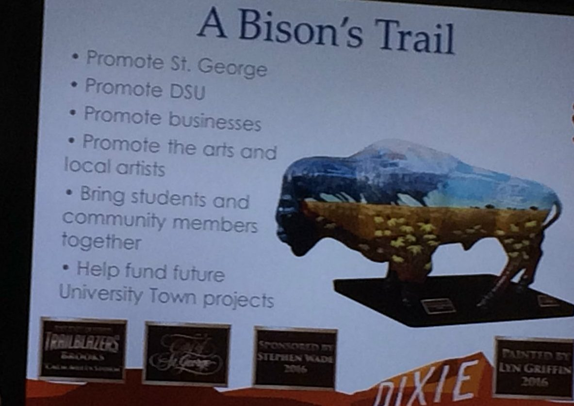"""A slide shown during a presentation of the """"A Bison's Trail"""" project given to the St. George City Council. It gives an example of what a painted Brooks the Bison statue could look like with accompanying plaques, St. George, Utah, June 9, 2016 