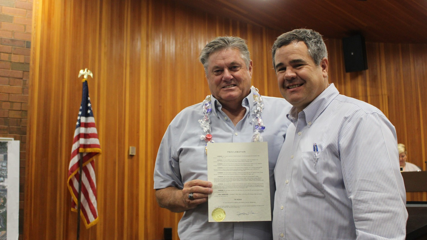 L-R: Ski Ingram and St. George Mayor Jon Pike. Ingram is holding the proclamation honoring his service to the community that was read by the mayor, St. George, Utah, June 15, 2016 | Photo by Mori Kessler, St. George