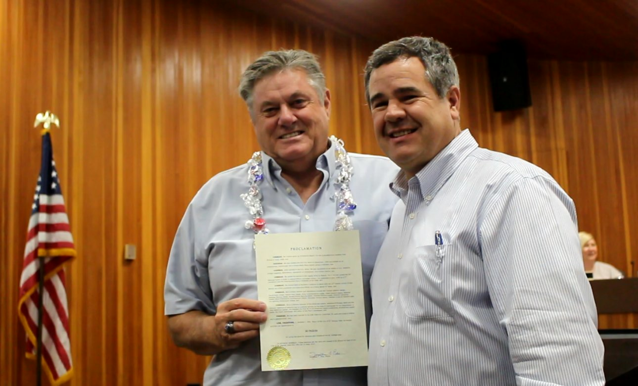 L-R: Ski Ingram and St. George Mayor Jon Pike. Ingram, who has become a well known community figure through his participation with the American Legion and several venterans-centric and other events, was honored by the St. George City Council, St. George, Utah, June 16, 2016 | Photo by Mori Kessler, St. George News