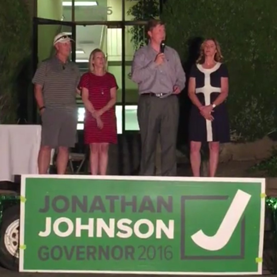 Jonathan Johnson (center right) addresses supporters following a call of congratulations to Gov. Gary Hebert for winning the 2016 primary election, Holiday, Utah, June 28, 2016   Photo courtesy of the Jonathan Johnson for Governor, campaign, St. George News