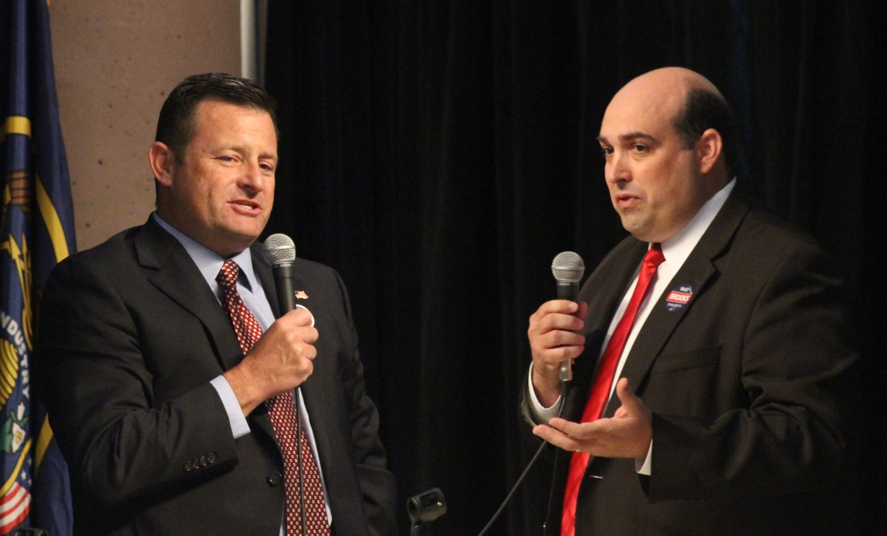 L-R: Steve Kemp and Walt Brooks, candidates for the Republican nomination for House District 75, debate at a forum hosted by the St. George Area Chamber of Commerce, St. George, Utah, June 15, 2016 | Photo by Mori Kessler, St. George News