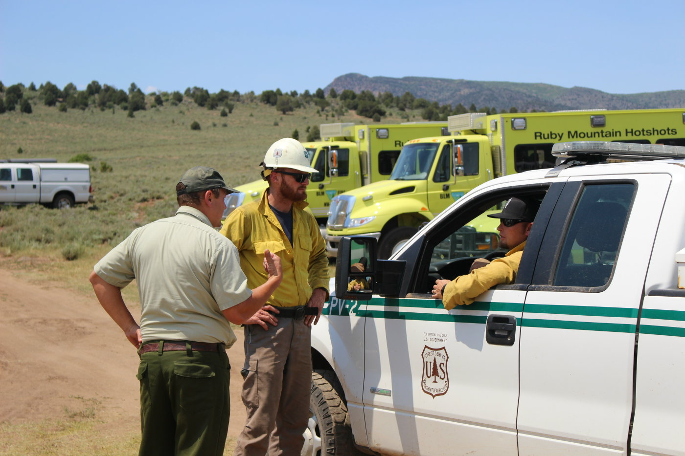 Officials with the BLM and Pine Valley Ranger District near the Saddle Fire, Pine Valley, Utah, June 20, 2016 | Photo by Mori Kessler, St. George News