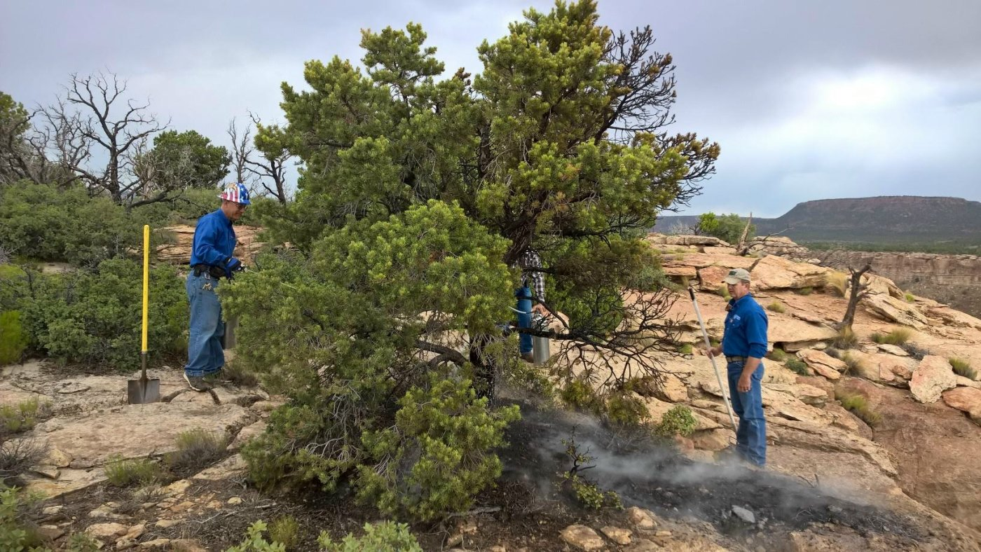 A crew from UTC Aerospace Systems  tends to a spot fire caused by lightning near the Hurricane Mesa Test Facility, Hurricane, Utah, June 13 | Photo courtesy of Jack Reed, St. George News