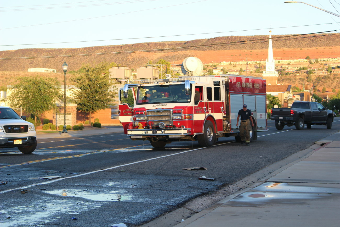 Firefighters responded to a short-lived trash fire that ignited inside a garbage truck while on Tabernacle Street, St. George, Utah, June 14, 2016 | Photo by Mori Kessler, St. George News