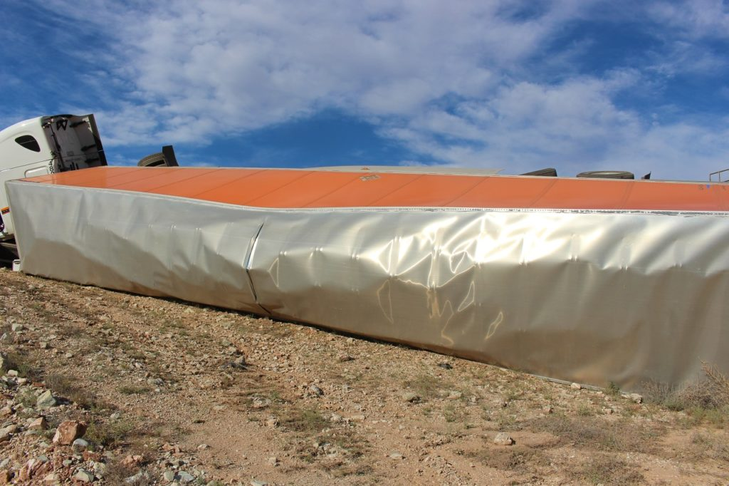 Top of semitrailer after it rolled off South River Road, St. George, Utah, June 18, 2016 | Photo by Cody Blowers, St. George News