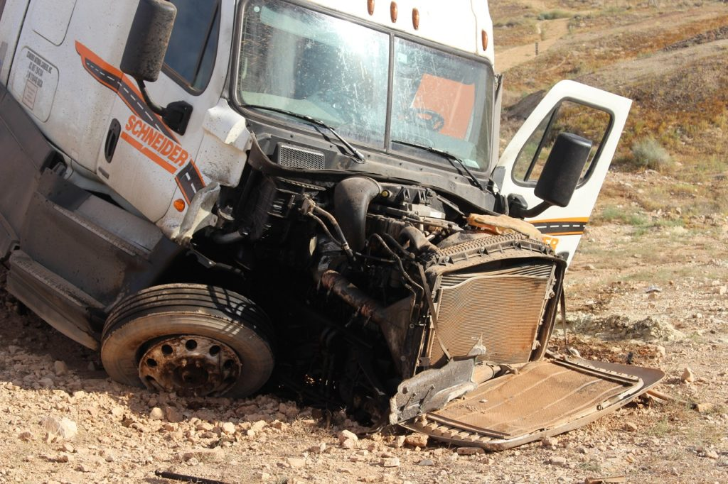 Cab of semitractor-trailer rolled off South River Road, St. George, Utah, June 18, 2016 | Photo by Cody Blowers, St. George News