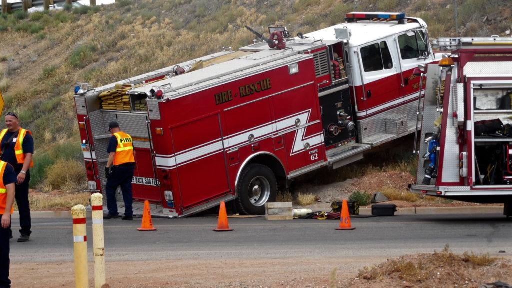 Driverless Fire Truck Runs Away Rolls Up Embankment St