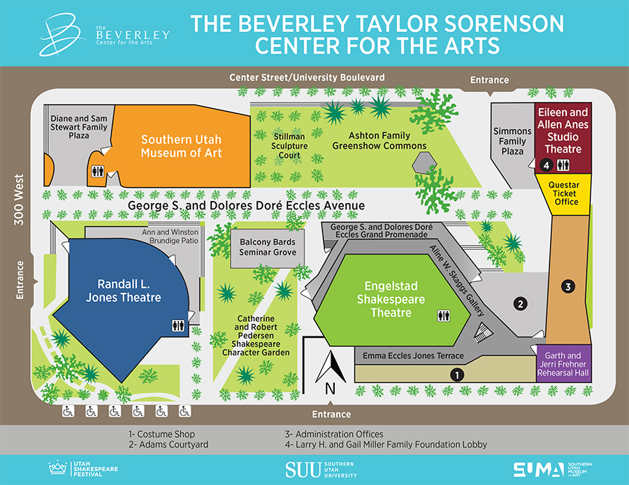 Site plan for The Beverley Sorenson Center for the Arts, scheduled to open in July 2016 on the campus of Southern Utah University, Cedar City, Utah | Image courtesy of The Beverley and SUU, St. George News / Cedar City News