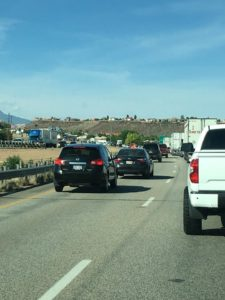 Traffic backs up for several miles on Interstate 15 Thursday, June 2, 2016, St. George, Utah | Photo courtesy Corbin Wade, St. George News