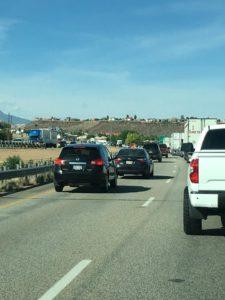 Traffic backs up for several miles on Interstate 15 Thursday, June 2, 2016, St. George, Utah | Photo courtesy Corbin Wade, St. George News