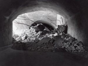 A tunnel collapse in 1958 in the Zion Tunnel, Springdale, Utah | Photo courtesy of Washington County Historical Society, St. George News