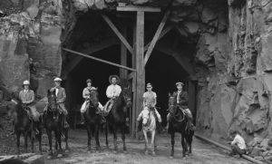 A horseback party at the west entrance to Zion Tunnel in 1929 | Photo courtesy of Wikipedia, St. George News