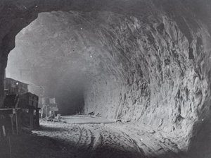 Tunnel near a window during construction of the Zion Tunnel, Springdale, Utah | Photo courtesy of Washington County Historical Society, St. George News