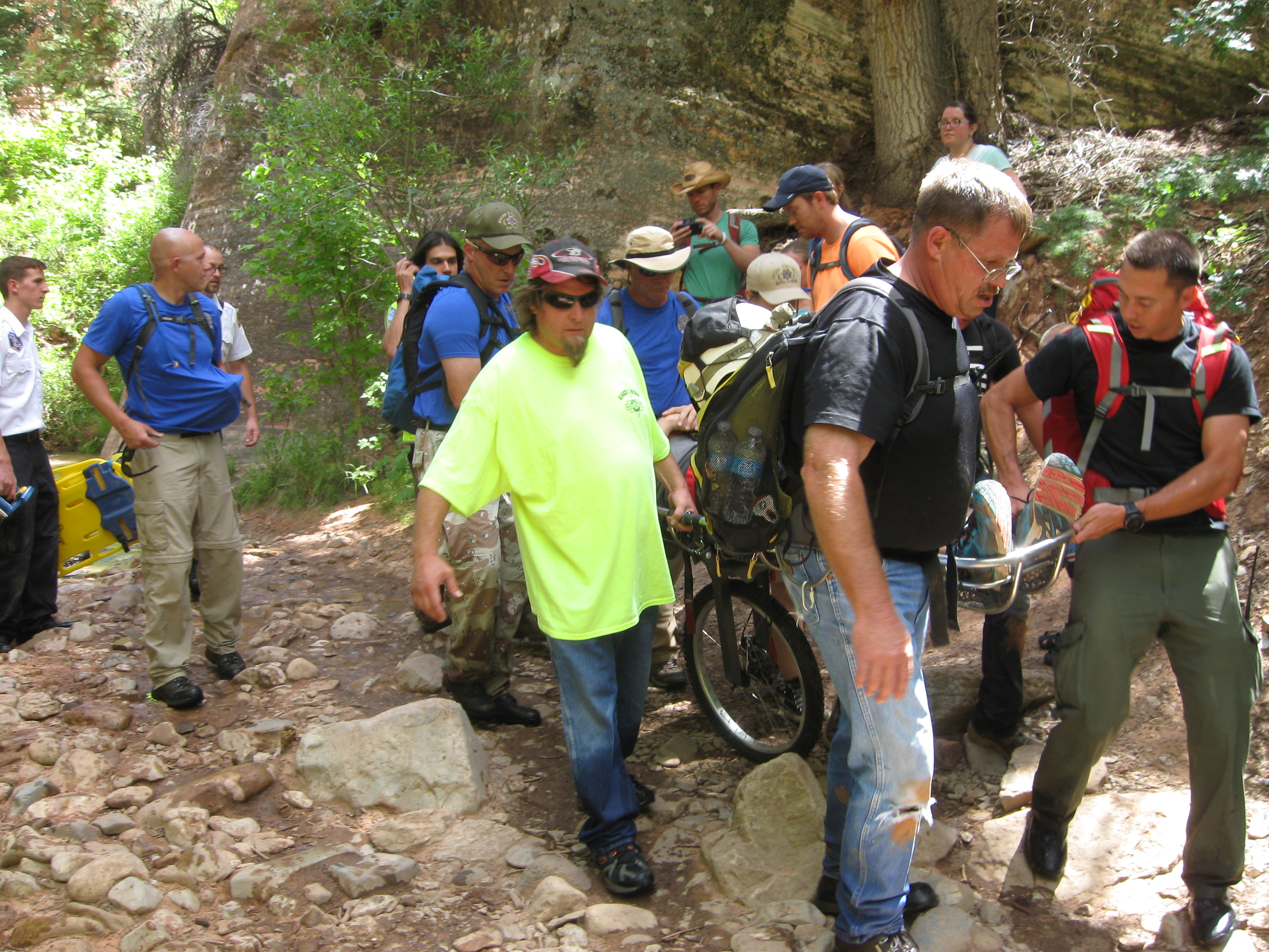 Iron County Sheriff's Search and Rescue and Ropes teams work together to carry an injured man out of Kanarraville Falls, Utah, July 16, 2016 | Photo courtesy of Iron County Sheriff's Office St. George/Cedar City News