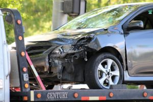 Gray Toyota four-door passenger car after colliding with Hyundaion 100 South at the intersection of Main Street in St. George, Utah, July 8, 2016 | Photo by Cody Blowers, St. George News