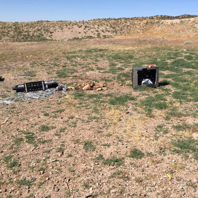 This photo shows electronics and other items apparently dumped and used for target practice at the Iron County Shooting Range. County officials are asking for help in stopping the ongoing problems of trash dumping and vandalism at the range. Three Peaks Recreation Complex, Iron County, Utah, circa June 2016 | Photo courtesy of Iron County Sheriff's Office, St. George News/Cedar City News