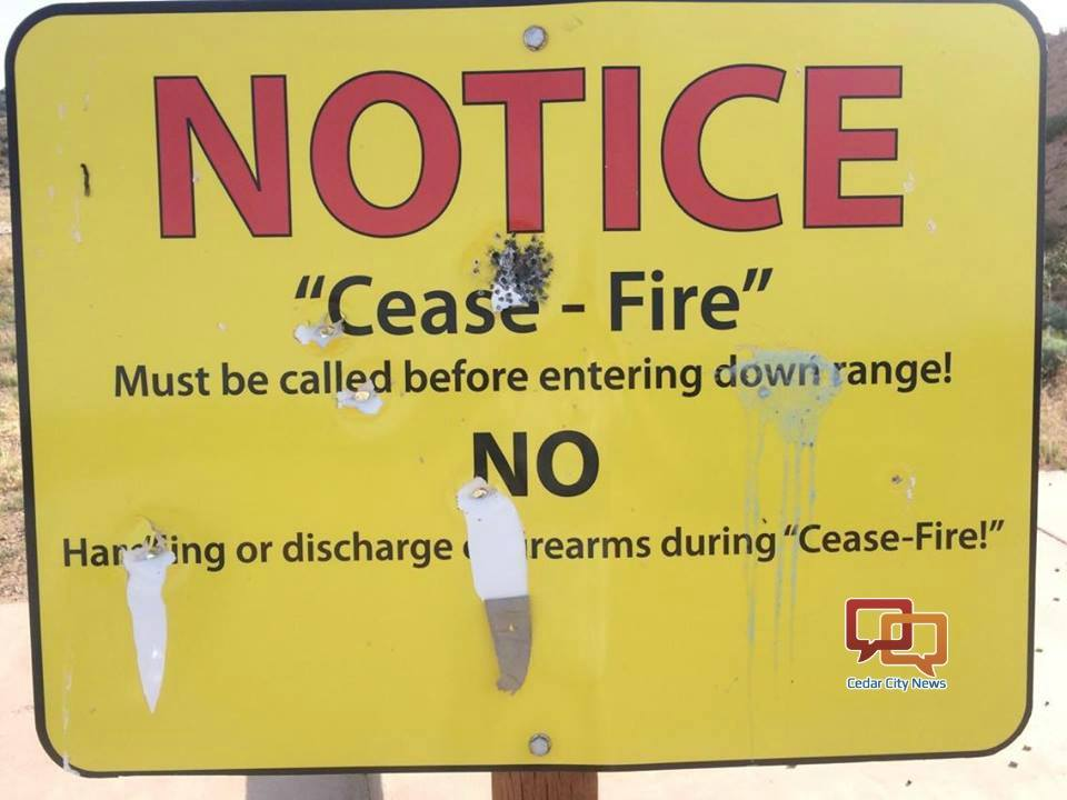 This photo shows a sign that has been vandalized at the Iron County Shooting Range. County officials are asking for help in stopping the ongoing problems of trash dumping and vandalism at the range. Three Peaks Recreation Complex, Iron County, Utah, circa June 2016 | Photo courtesy of Iron County Sheriff's Office, St. George News/Cedar City News
