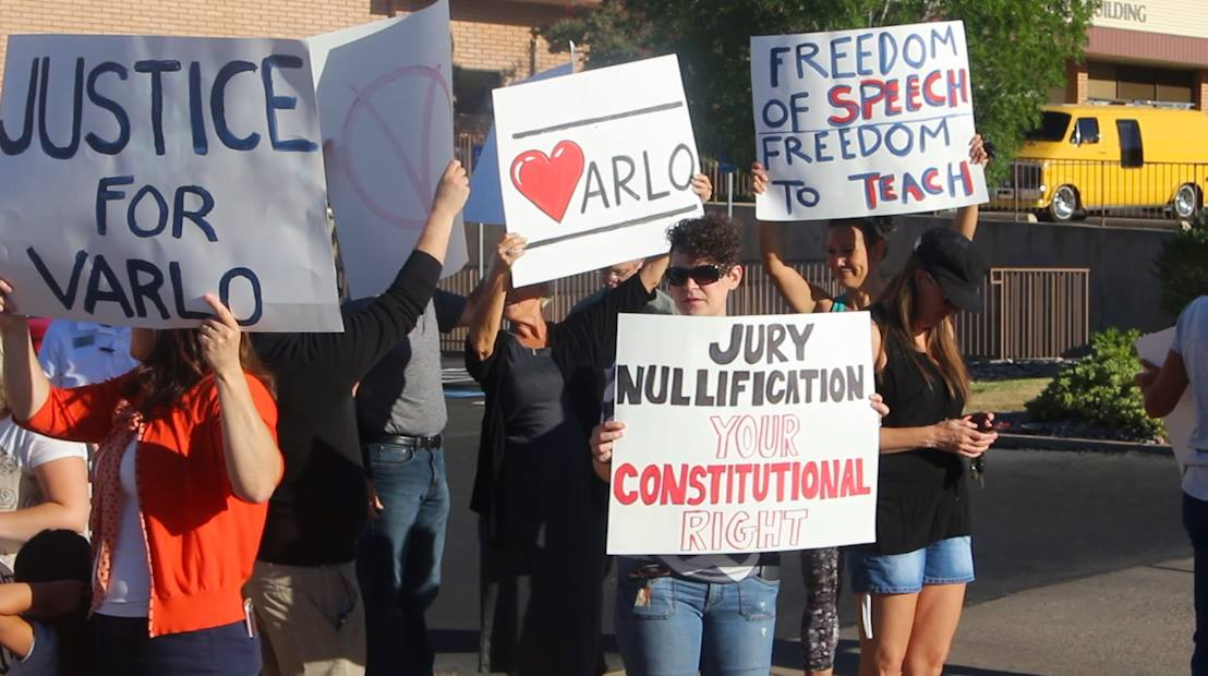 Supporters of embattled former Dixie State professor Varlo Davenport gathered outside the Washington County Justice Court before the start of Davenport's trial, St. George, Utah, July 13, 2016 | Photo by Mike Cole, St. George News