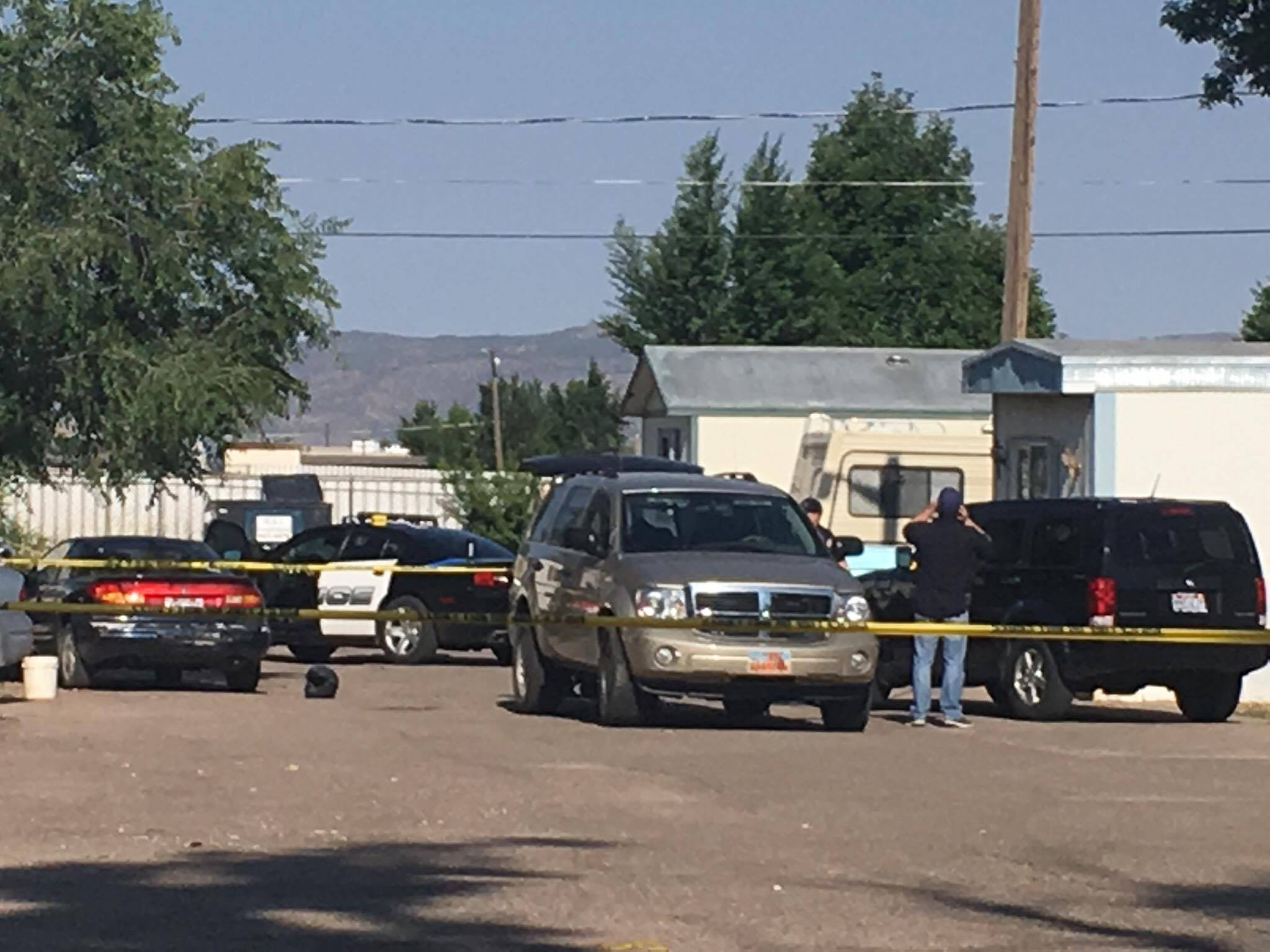 Cedar City Police found a man dead Sunday morning when they responded to report of gunshots at a home in the Reber Court trailer park at 515 N. 400 West in Cedar City, Utah, July 24, 2016 | Photo by Tracie Sullivan, Cedar City News / St. George News