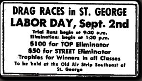 Advertisement for drag racing in 1963. | Photo courtesy of Washington County Historical Society, St. George News